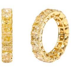 18 Karat Yellow Gold 10.01 Carat Solitaire Yellow Diamond Eternity Band Ring