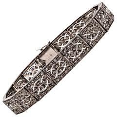Art Deco Style 3.00 Carat White Brilliant Cut Diamond White Gold Bracelet