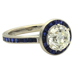 Hancocks Contemporary 2.02ct Old Cut Diamond Calibre Cut Sapphire Halo Ring