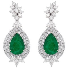 Important 21.86 Carat Pear Emerald Earrings Set with Diamonds 10.52 Carats Total