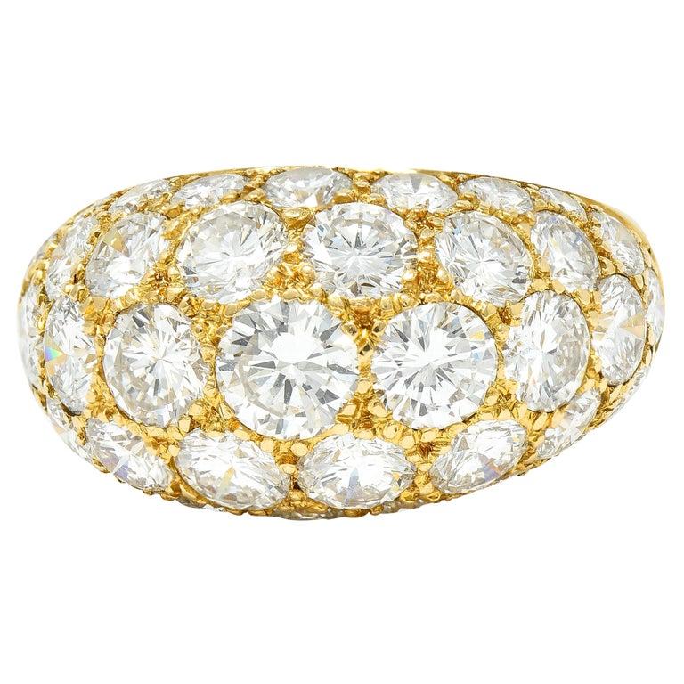 Oscar Heyman 7.50 Carats Pave Diamond 18 Karat Gold Bombe Band Ring For Sale