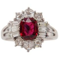 GRS Certified Burmese No Heat 1.38 Carat 'Pigeon Blood' Ruby and Diamond Ring