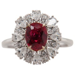 GRS Certified Burmese No Heat 1.31 Carat 'Pigeon Blood' Ruby and Diamond Ring
