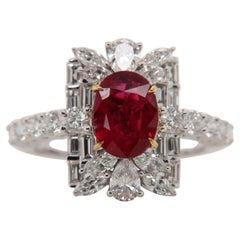 GRS Certified Burmese No Heat 1.43 Carat 'Pigeon Blood' Ruby and Diamond Ring