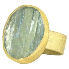 Petra Class One of a Kind Aquamarine Crystal High Karat Yellow Gold Ring