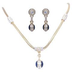 Yellow Gold 18K Diamonds Sapphires Necklace Earrings Set, 2000