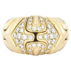 Bvlgari Alveare Diamond Band Ring in Yellow Gold