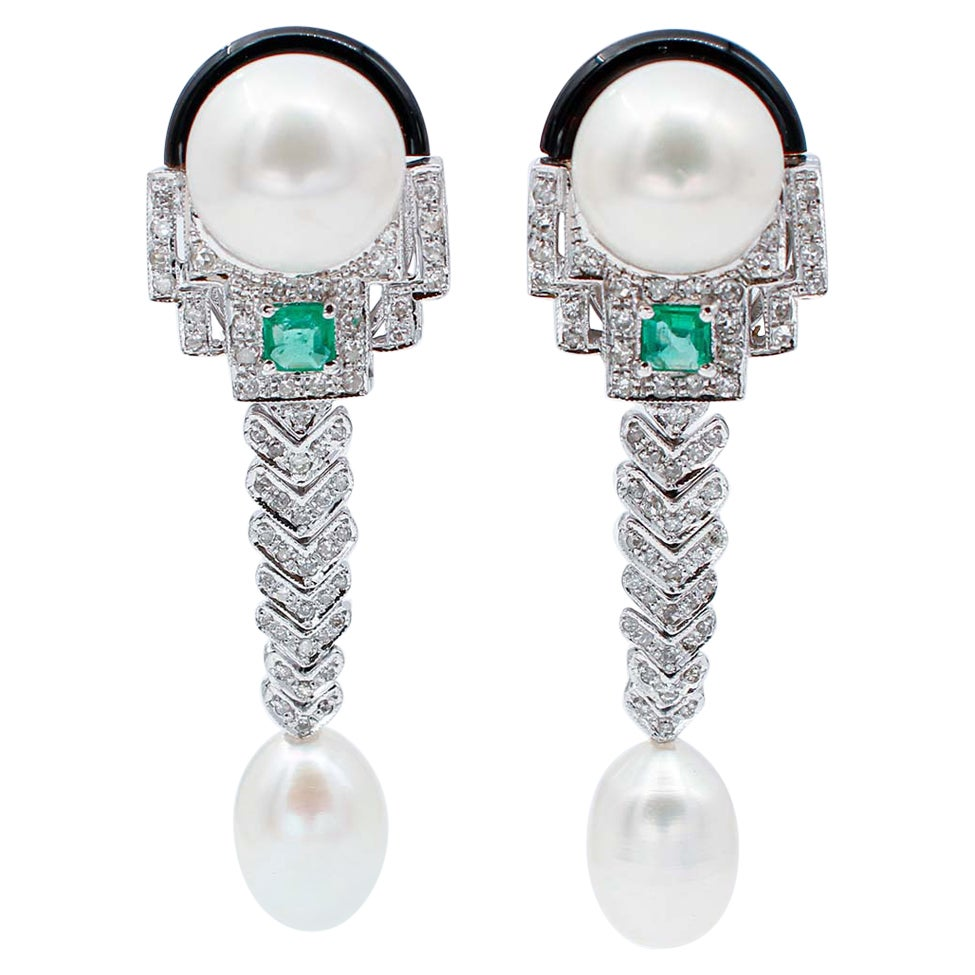 Diamonds, Emeralds, Pearls, Onyx, 14 Karat White Gold Dangle Earrings