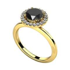 1.3 Carat Round Black Diamond Halo Cocktail Ring in 14K Yellow Gold