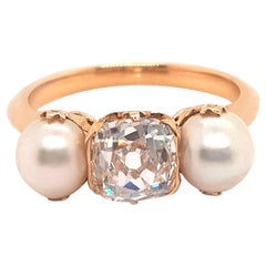 Antique Pearl, Diamond and Gold Three Stone Ring