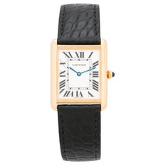 Cartier Model 3187 Tank Solo 18 Karat Yellow Gold and Stainless Steel Watch