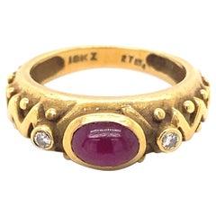 Vintage Cabochon Ruby Diamonds 18K Yellow Gold Ring
