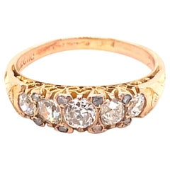 Antique Five Old Mine Cut Diamond 18K Yellow Gold Ring
