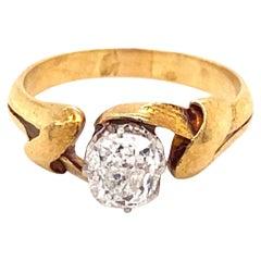 Antique Art Nouveau .70 Carat Cushion Cut Diamond 18K Yellow Gold Ring