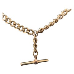 Vintage T Bar Chain 9 Karat Yellow Gold Necklace