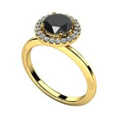 1.29 Carat Round Black Diamond Halo Cocktail Ring in 14K Yellow Gold