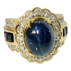 5 Carat Cabochon Sapphire and Diamond Ring
