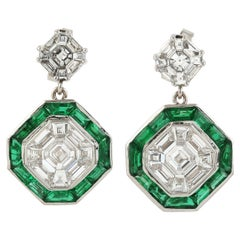 Art Deco Style Diamond and Emerald Drop Earring in 18K White Gold