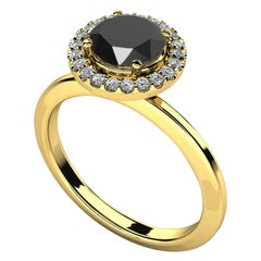 1.7 Carat Round Black Diamond Halo Cocktail Ring in 14K Yellow Gold