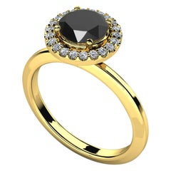 1.35 Carat Round Black Diamond Halo Cocktail Ring in 14K Yellow Gold
