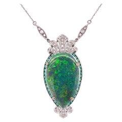 16.15 Carat Australian Opal, Diamond and Emerald Necklace Estate Fine Jewelry