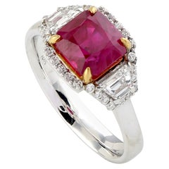 Cushion Shape Ruby and Diamond Cocktail Ring in 18K White Gold