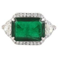 Classic Emerald Cut Emerald and Fancy Cut Diamond Set in 18K White Gold