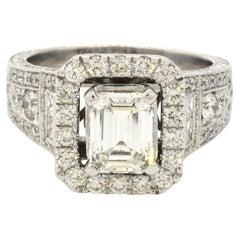 Neil Lane EGL heavy 14K WG 3.91CT Emerald Cut Diamond Wedding Ring w/2.01CT Ctr