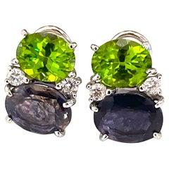 Medium Gum Drop Earrings with Peridot, Iolite and Diamonds