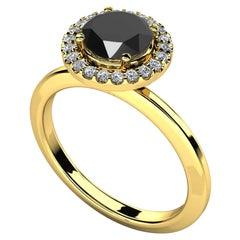 2.17 Carat Round Black Diamond Halo Cocktail Ring in 14K Yellow Gold