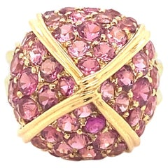 Vintage Designer Pink Topaz 18K Yellow Gold Dome Ring