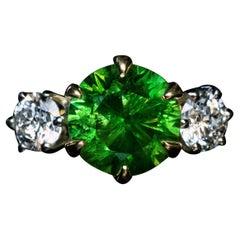 Very Rare 4.03 Ct Russian Demantoid Diamond Ring