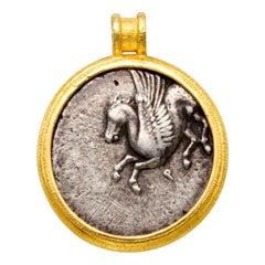 Ancient Greek Corinth 4th Century BC Athena Pegasus Coin 18K Gold Pendant
