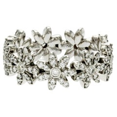 Tiffany & Co. 18K White Gold Diamond Metro Daisy Band Ring