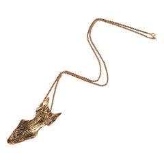 Fish Skull Pendant, Gold Plated