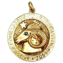 Tiffany & Co. Vintage Aries Astrological Yellow Gold Charm Pendant