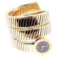 Bulgari Ladies Tri-Color Gold Tubogas Serpent Snake Bracelet Wristwatch