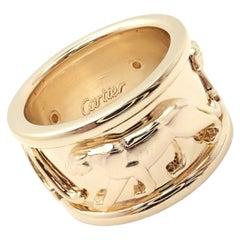 Cartier Walking Panther Panthere Band Yellow Gold Ring