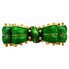 Tiffany & Co. Vintage Yellow Gold Green Enamel Bow Pin Brooch