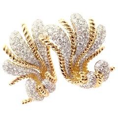 Verdura Fan Diamond Large Yellow Gold Earrings