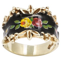 Mid Century Vintage Gold and Enamel Floral Spray Ring