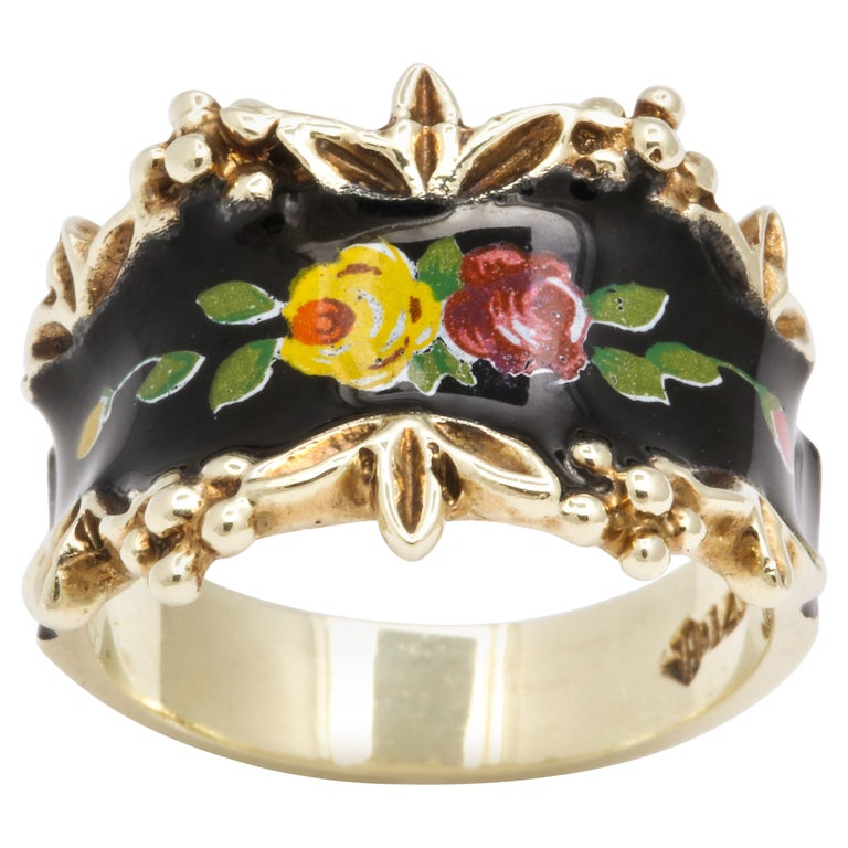 Mid Century Vintage Gold and Enamel Floral Spray Ring For Sale