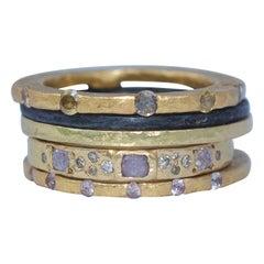 Diamonds Sapphire 22K 18K Gold Sterling Silver Bridal Wedding Band Ring Stack#1