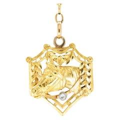 Art Nouveau Diamond Gold Horse Head Equestrian Fob Pendant