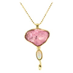 Rose Quartz Opal Yellow Gold Pendant Necklace