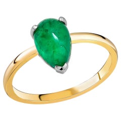 Pear Shaped Cabochon Emerald Solitaire Cocktail Ring