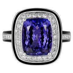 4.60 Carat Tanzanite Diamond Enamel Ring