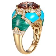 5.89 Carat Pink Tourmaline Turquoise Malachite Diamond Cocktail Ring