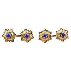 18 Karat Yellow Gold Lapis Lazuli Stars Mid 20th Century Cufflinks