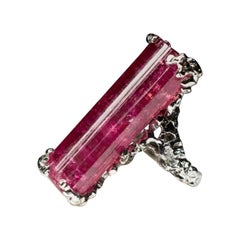 Crystal Rose Rubellite Tourmaline Silver Ring Barbie Pink Natural Russian Stone
